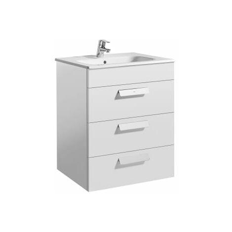 Roca - Unik (mueble base con tres cajones y lavabo) - 60 cm, Serie Debba , Color Blanco brillo - A855972806