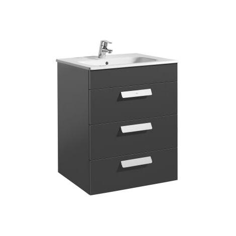 Roca - Unik (mueble base con tres cajones y lavabo) - 60 cm, Serie Debba , Color Gris antracita - A855972153