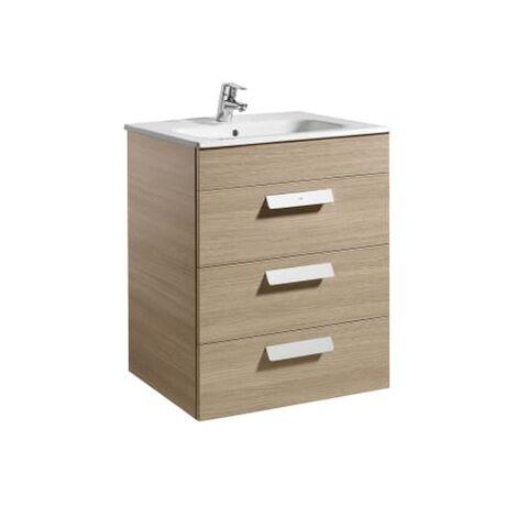 Roca - Unik (mueble base con tres cajones y lavabo) - 60 cm, Serie Debba , Color Roble - A855972155