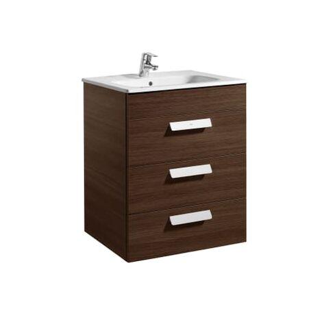Roca - Unik (mueble base con tres cajones y lavabo) - 60 cm, Serie Debba , Color Wengé - A855972154