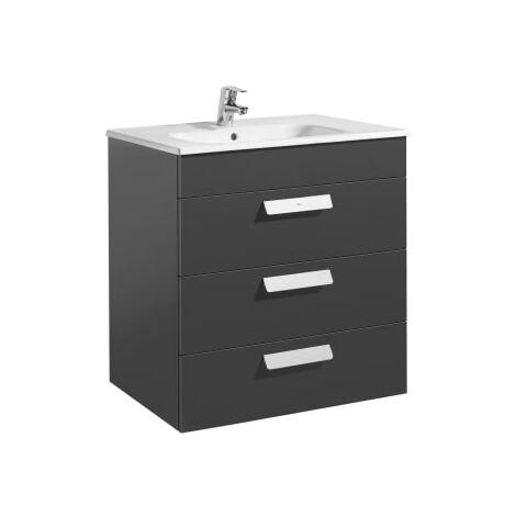 Roca - Unik (mueble base con tres cajones y lavabo) - 70 cm, Serie Debba , Color Gris antracita - A855973153