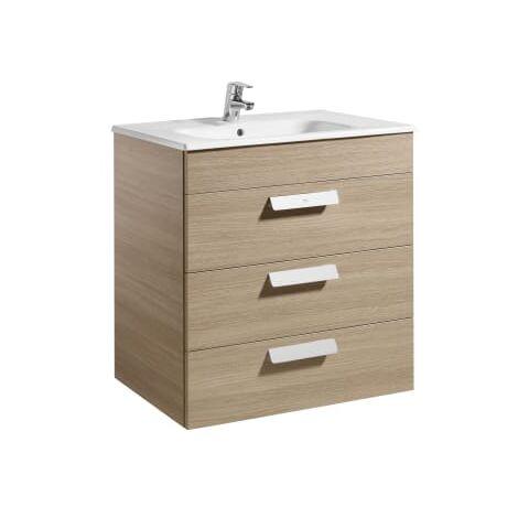 Roca - Unik (mueble base con tres cajones y lavabo) - 70 cm, Serie Debba , Color Roble - A855973155