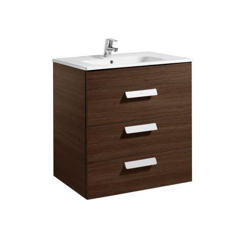 Roca - Unik (mueble base con tres cajones y lavabo) - 70 cm, Serie Debba , Color Wengé - A855973154