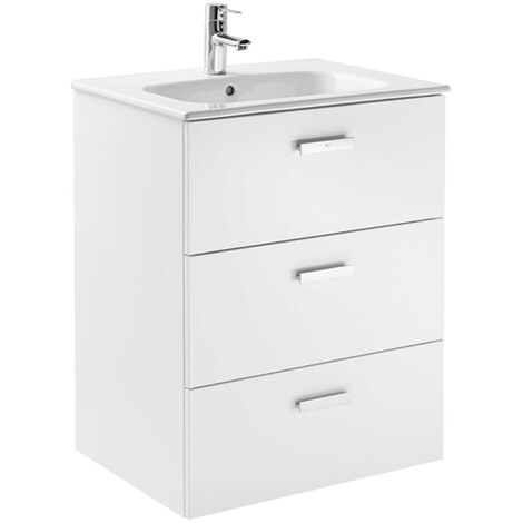 Roca Victoria Basic Wall Hung 3-Drawer Vanity Unit with Square Basin 600mm Wide - Gloss White