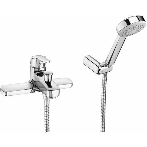 Roca Victoria Bath Shower Mixer Tap with Shower Kit Deck Mounted - Chrome