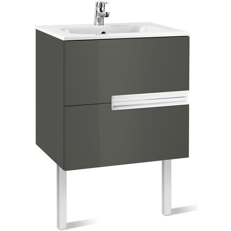 Roca Victoria-N Unik 2-Drawers Vanity Unit with Basin 600mm Wide Gloss Grey 1 Tap Hole