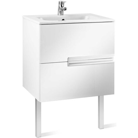 Roca Victoria-N Unik 2-Drawers Vanity Unit with Basin 600mm Wide Gloss White 1 Tap Hole