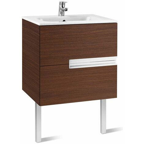 Roca Victoria-N Unik 2-Drawers Vanity Unit with Basin 700mm Wide Textured Wenge 1 Tap Hole