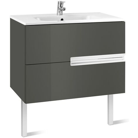 Roca Victoria-N Unik 2-Drawers Vanity Unit with Basin 800mm Wide Gloss Grey 1 Tap Hole