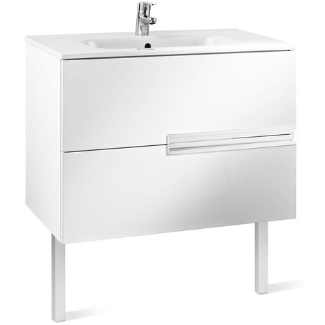 Roca Victoria-N Unik 2-Drawers Vanity Unit with Basin 800mm Wide Gloss White 1 Tap Hole