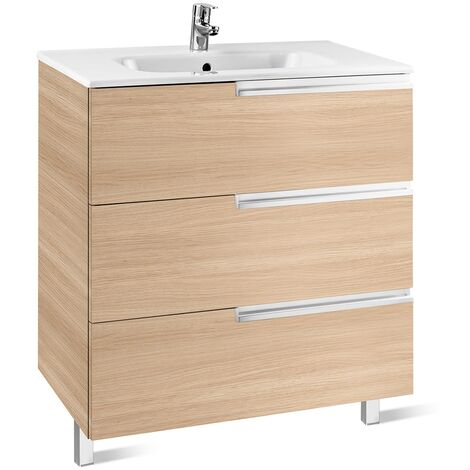 """main image of """"Roca Victoria-N Unik 3-Drawers Vanity Unit with Basin 700mm Wide Textured Oak 1 Tap Hole"""""""