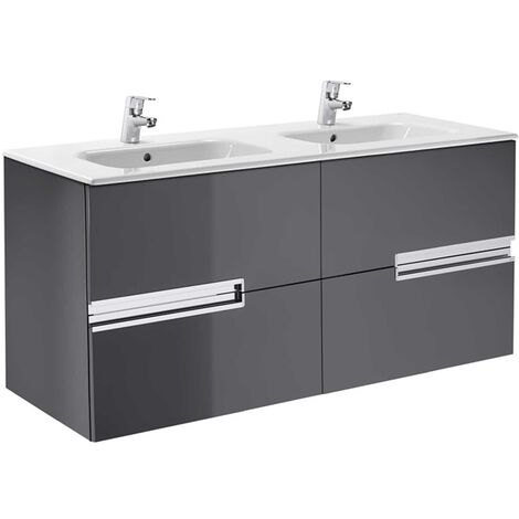 Roca Victoria-N Unik 4-Drawers Vanity Unit with Double Basin 1200mm Wide Gloss Grey 2 Tap Hole