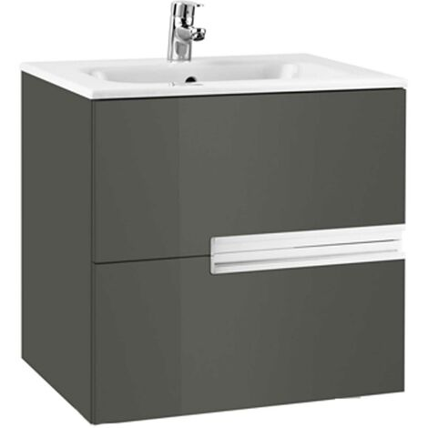 Roca Victoria-N Wall Hung 2-Drawer Vanity Unit with Basin 600mm Wide - Gloss Anthracite Grey