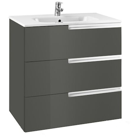 Roca Victoria-N Wall Hung 3-Drawer Vanity Unit with Basin 600mm Wide - Gloss Anthracite Grey