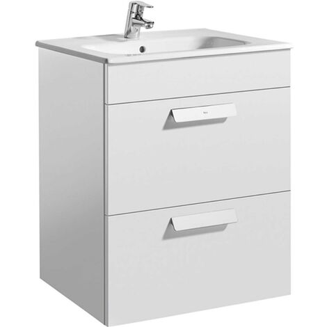 Roca Victoria Wall Hung 2-Drawer Vanity Unit with Square Basin 600mm Wide - Gloss White