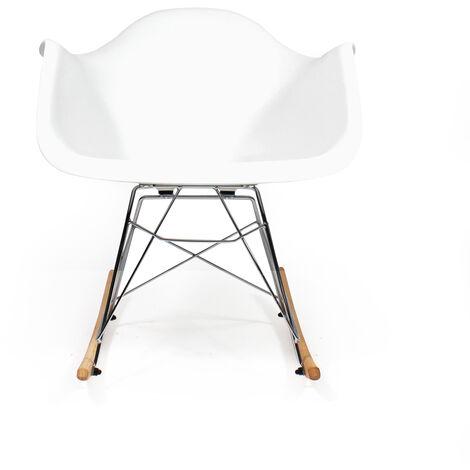 Rocking chair blanc style scandinave - Bois