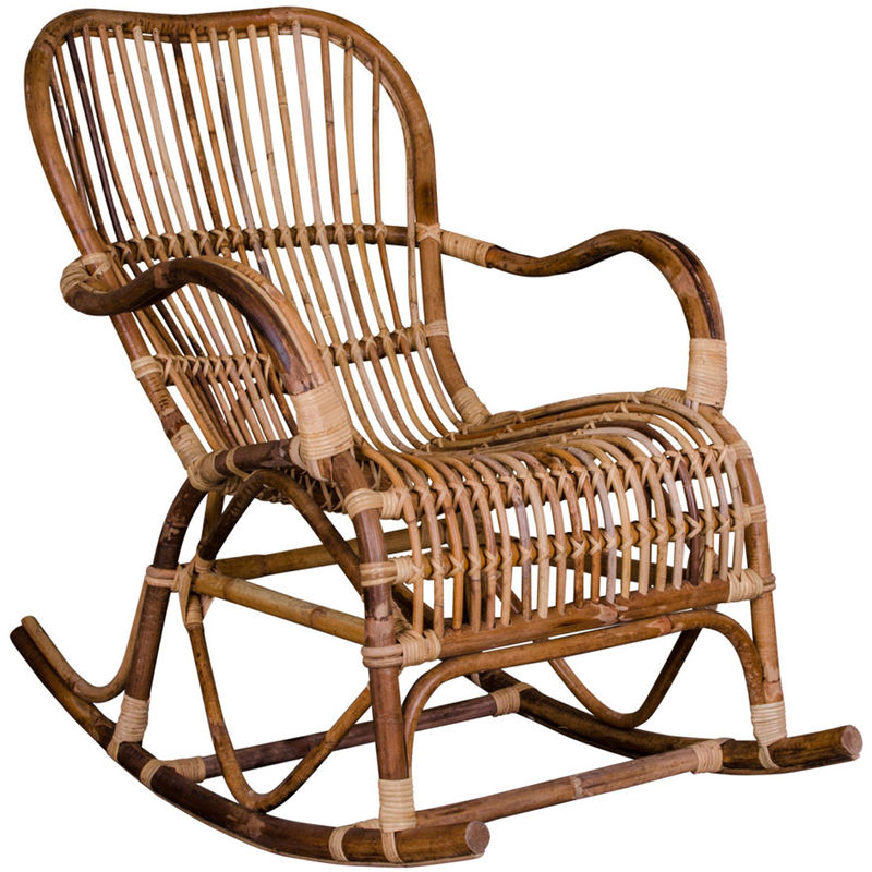 Rocking-Chair coloris naturel en rotin - Dim : 98 x 63 x 90 cm - Pegane