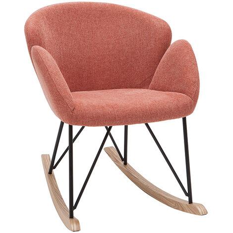 Rocking chair design effet velours texturé terracotta RHAPSODY