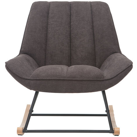 Rocking chair design en tissu effet velours gris foncé BILLIE