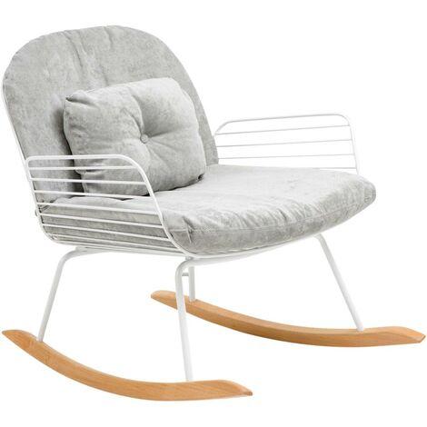 Rocking chair en métal blanc tissu gris - Gris clair