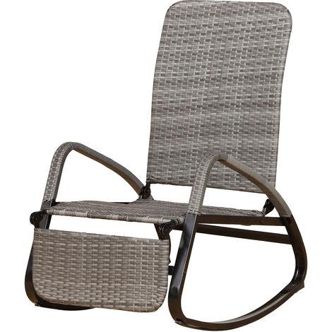 Rocking chair extérieur style cosy résine tressée