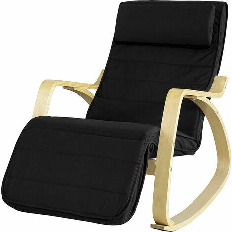 Rocking Chair, Fauteuil à bascule avec repose-pieds réglable design, Fauteuil berçante, Fauteuil relax, Bouleau Flexible (Noir)FST16-Sch SoBuy®