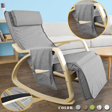 Rocking Chair Fauteuil à Bascule Berçante avec Repose-pieds Réglable Bouleau + 1 Pochette Latérale Gratuite FST18-DG SoBuy®
