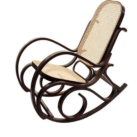 Rocking-chair fauteuil à bascule, couleur noyer, rotin