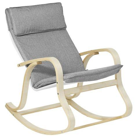 Rocking Chair, Fauteuil à bascule, Fauteuil relax, Bouleau Flexible -Gris FST15-DG SoBuy®
