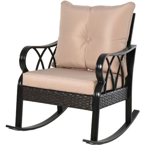 Rocking chair fauteuil à bascule grand confort style cosy coussins assise dossier déhoussable beige résine tressée imitation rotin noir