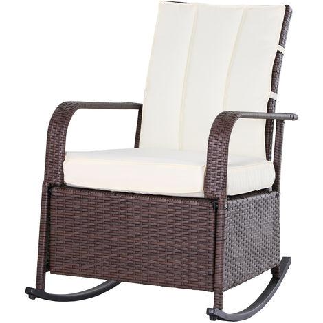 Rocking chair fauteuil à bascule grand confort style cosy coussins assise dossier déperlant crème résine tressée imitation rotin chocolat
