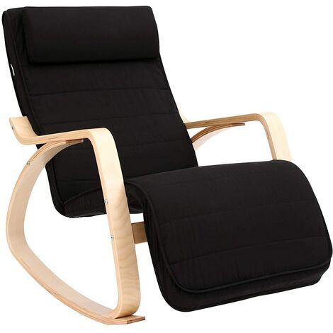 Rocking Chair Fauteuil Bascule avec Repose-Pieds réglable à 5 Niveaux Design Charge Maximum 150 kg Noir LYY10BV1