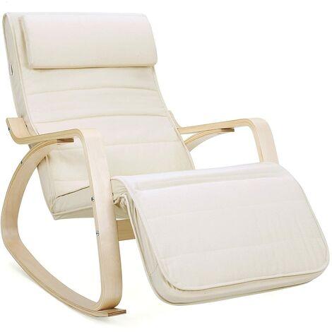 Rocking Chair Fauteuil Bascule avec Repose-pieds réglable à 5 niveaux design Charge maximum 150kg couleurs différentes