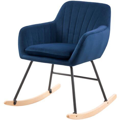 Rocking-chair Isola en velours bleu - Bleu