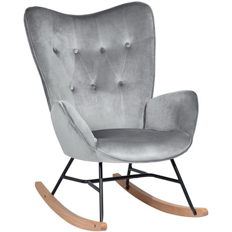 Rocking chair luxury relax armchair gray Scandinavian velvet
