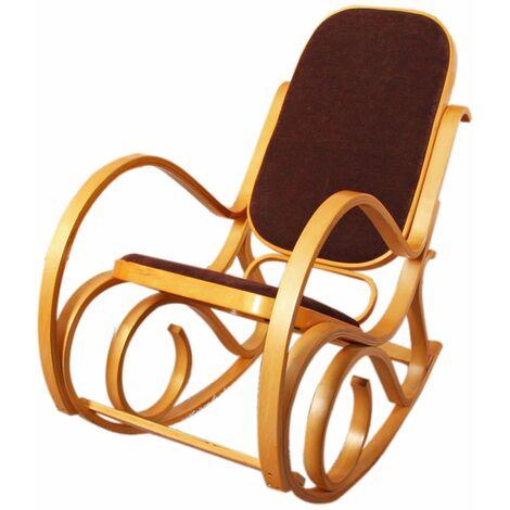 Rocking-chair M41, fauteuil à bascule en bois, fauteuil de relaxation ~ jaquard, noir