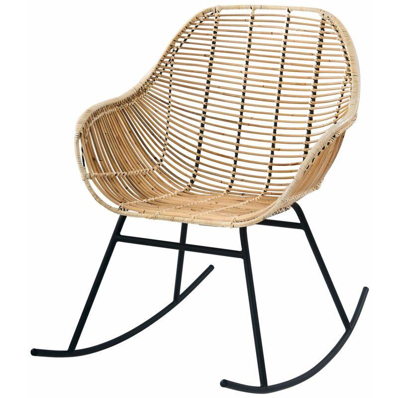 Rocking-chair Pakur en rotin naturel - Beige