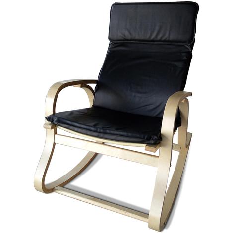 Rocking-chair Polyuréthane Noir