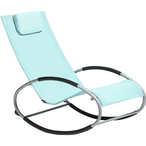 Rocking Sun Lounger Light Blue CAMPO