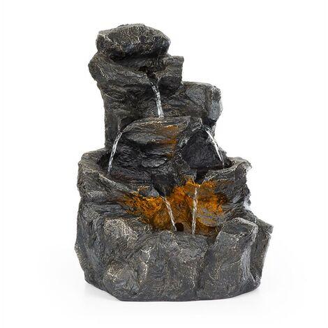 """main image of """"Rocky Waters fuente de jardín iluminación LED 2,5W polirresina antracita"""""""