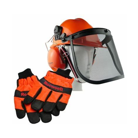 Rocwood Chainsaw Helmet Hard Hat & Small Size 8 Gloves