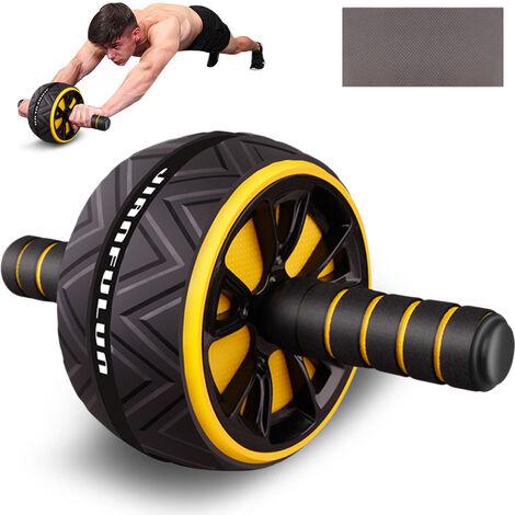 Rodillo abdominal Rueda de ejercicio Fitness Equipment Silencio de ruedas para los brazos hacia atras vientre Forma Core Trainer cuerpo con la rodilla libre del cojin, Amarillo