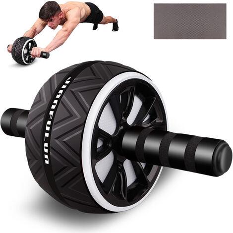 Rodillo abdominal Rueda de ejercicio Fitness Equipment Silencio de ruedas para los brazos hacia atras vientre Forma Core Trainer cuerpo con la rodilla libre del cojin, blanca