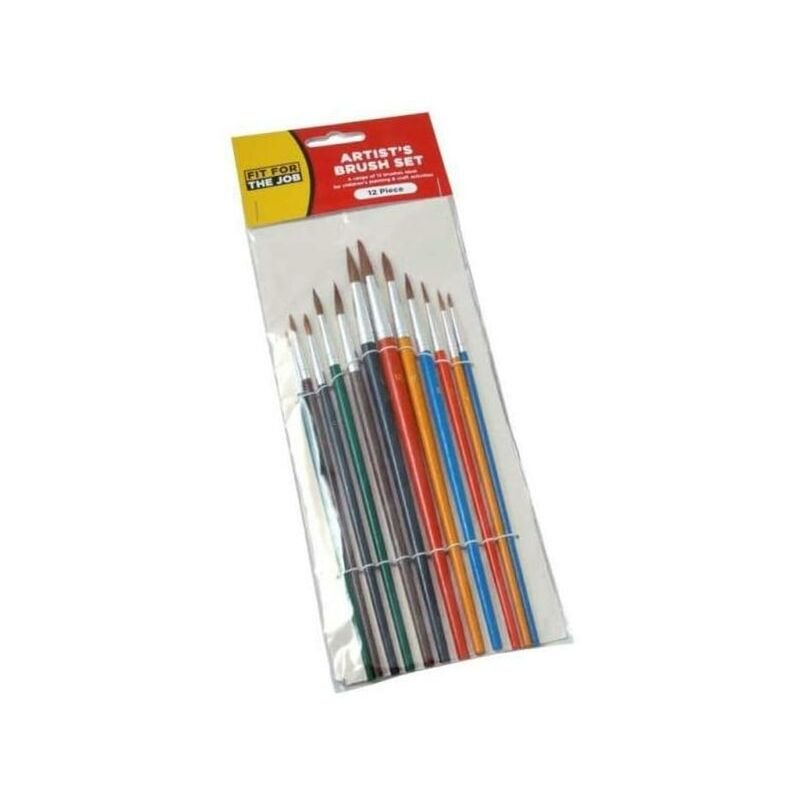 Image of FFJ 12 Piece Set of Artist Paint Brushes with Colour Handles