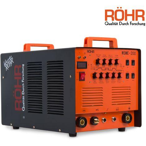 RÖHR ARC TIG Welder Inverter MMA Gas / Gasless 240V 200amp DC 4 in 1 WSME-200