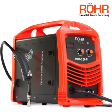 Röhr MIG-250FI - Soldador MIG Inverter con Gas de 250 Amp -240 V con Alambre de Núcleo Fundente - Tecnología IGBT - CC