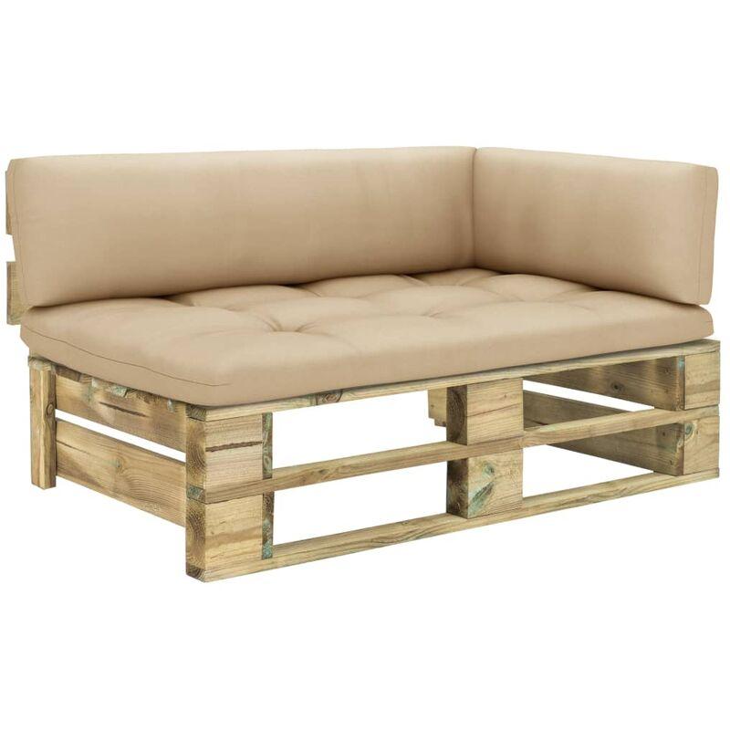 canapé d'angle palette de jardin vert bois de pin imprégné - Rogal