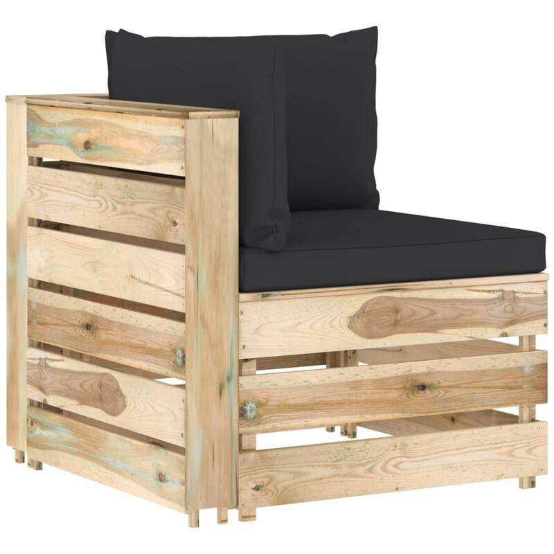 canapé d'angle sectionnel avec coussins bois imprégné de vert - Rogal