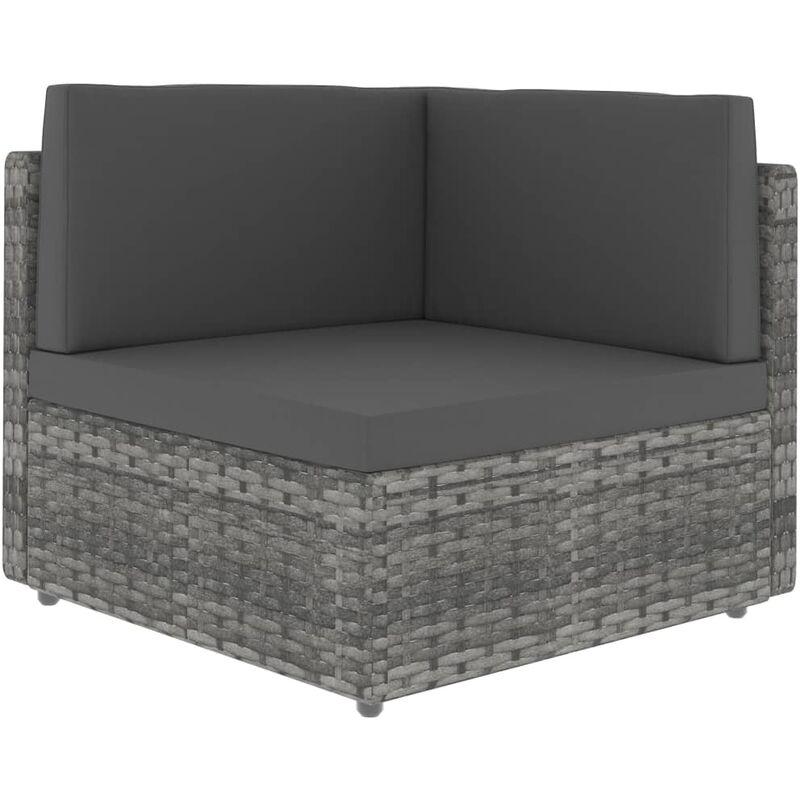 canapé d'angle sectionnel résine tressée gris - Rogal