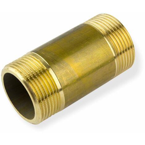 """Rohrdoppelnippel 1/2"""" x 100mm DN15 Messing Rohrnippel Langnippel Gewindenippel"""